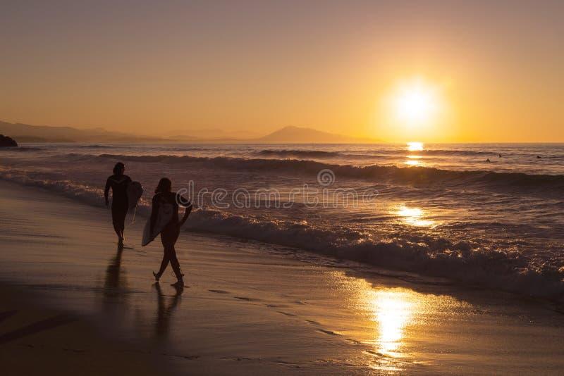 Due surfisti che camminano sulla spiaggia fotografia stock