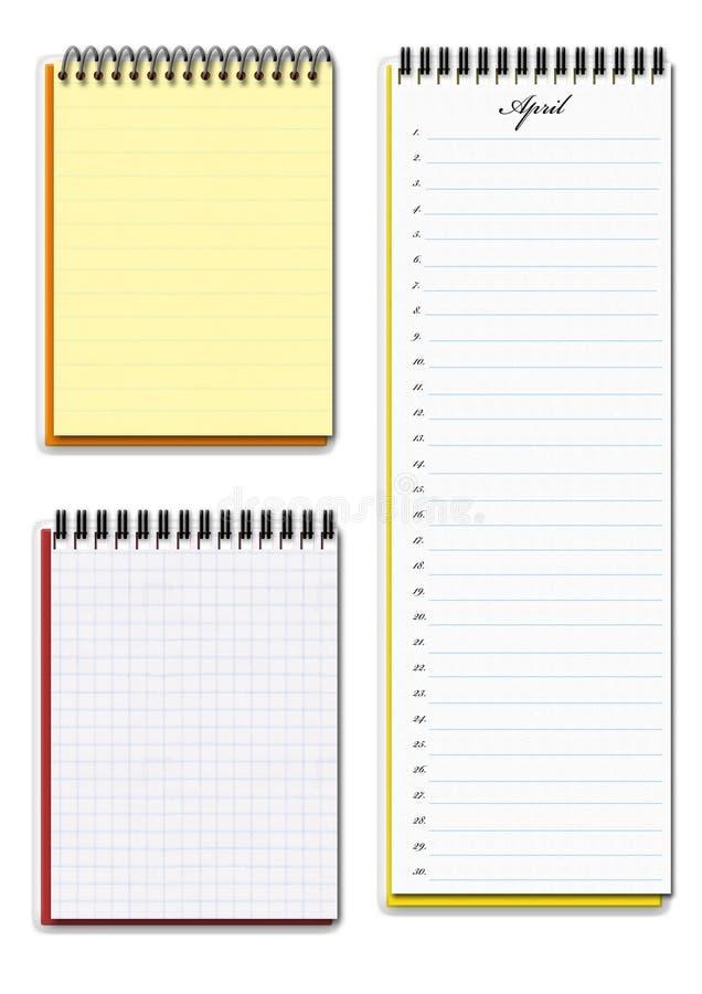Due taccuini e calendari fotografia stock