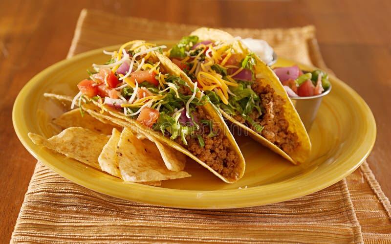 Due tacos con salsa e crema acida immagine stock libera da diritti