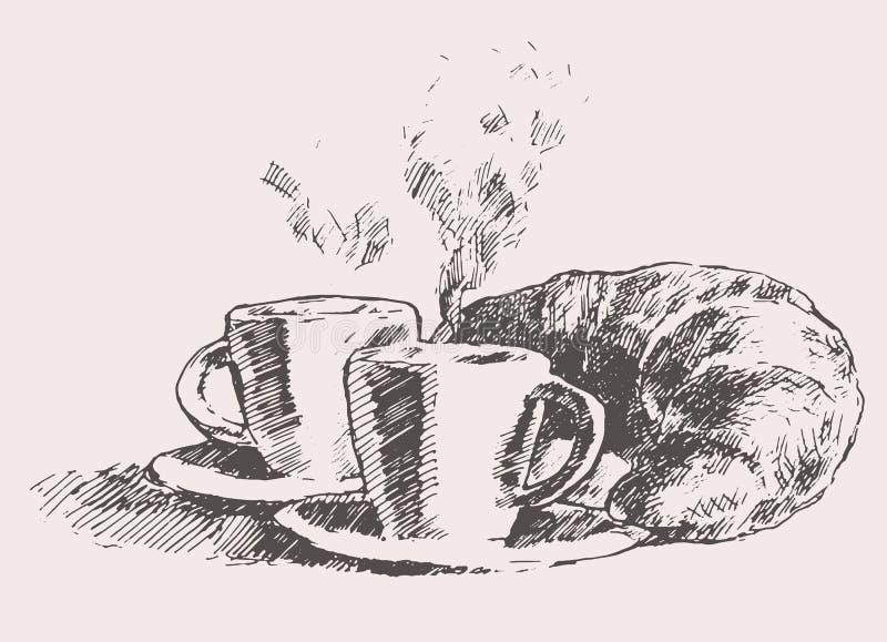 Due tazze del caffè del croissant dell'illustrazione dell'annata royalty illustrazione gratis