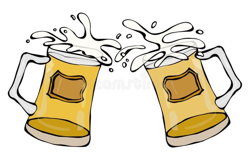 Due tazze di birra con birra inglese leggera o lager Tintinnio con spruzzata Isolato su una priorità bassa bianca Tiraggio realis illustrazione vettoriale