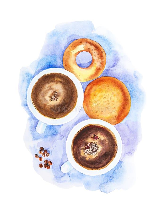 Due tazze di caffè, chicchi di caffè, un panino e una ciambella su un tovagliolo blu astratto La vista dalla parte superiore Illu royalty illustrazione gratis