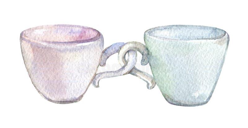Due tazze, isolate sull'acquerello bianco del fondo illustrazione di stock