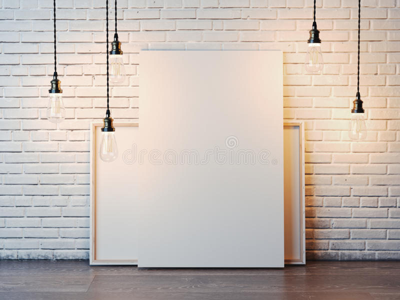 Due tele bianche con le lampadine nell'interno del sottotetto rappresentazione 3d fotografia stock
