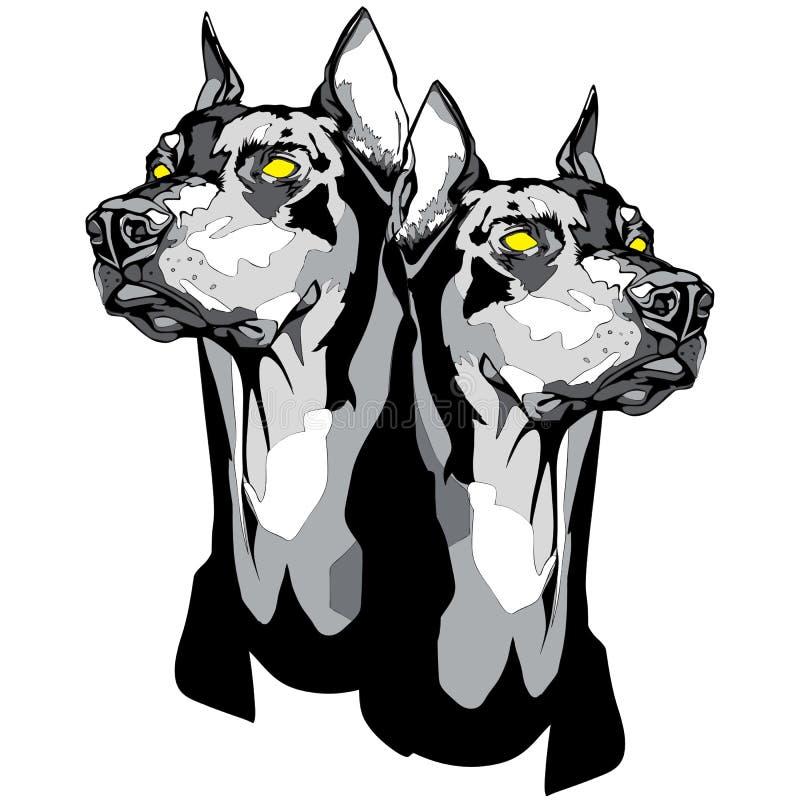 Due teste del pinscher di Dobermann nello stile del tatuaggio illustrazione vettoriale