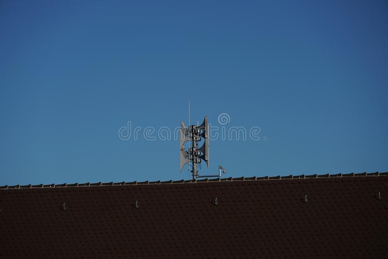 Due to a lightning rod which is mandatory at most buildings in Germany great damage is avoided. Lightning rod which is mandatory at most buildings in Germany royalty free stock photography