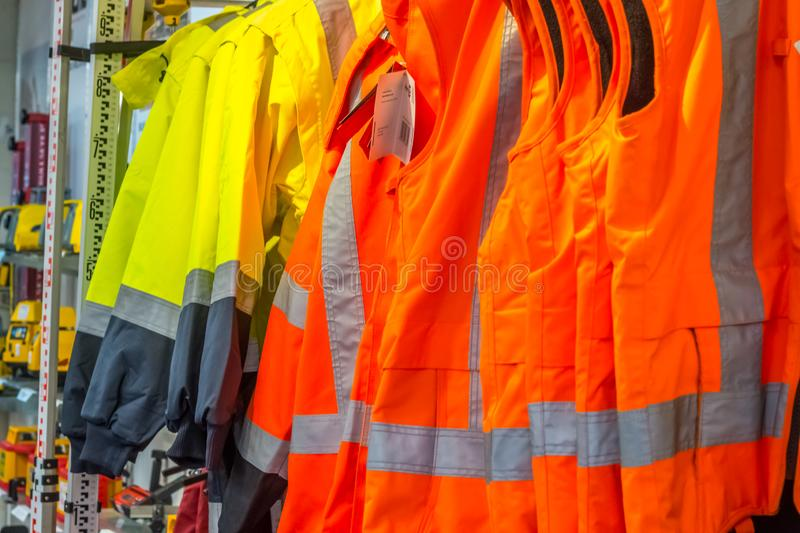 Health and safety equipment on display at a local hardware shop. royalty free stock photo