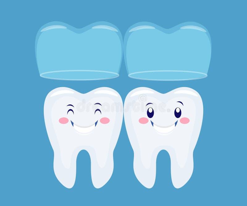 Due tooths divertenti del fumetto con il sistema invisibile dei ganci Vecto illustrazione vettoriale