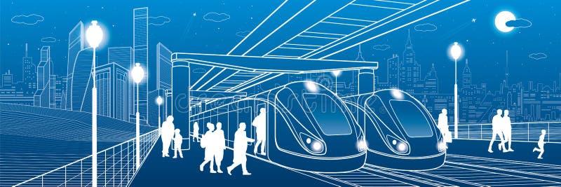 Due treni alla stazione I passeggeri fanno un atterraggio nel trasporto Illustrazione urbana dell'infrastruttura Arte di progetta illustrazione vettoriale
