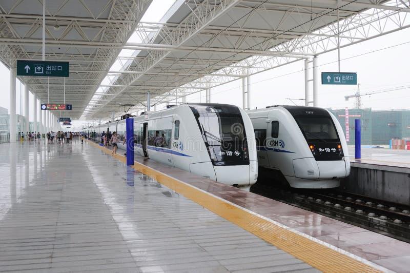 Due treni veloci cinesi di CRH fotografia stock