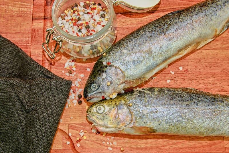 Due trote iridee crude con le spezie sul bordo di legno Alimento sano e concetto stante a dieta Primo piano fotografie stock