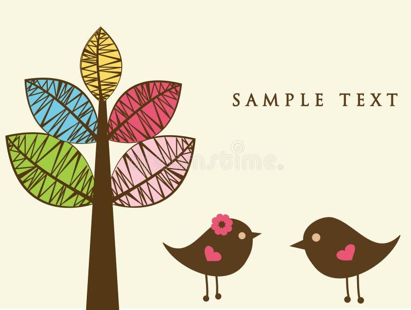 Due uccelli alla data di amore royalty illustrazione gratis
