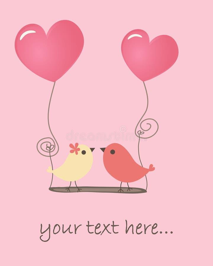 Due uccelli alla data di amore illustrazione di stock