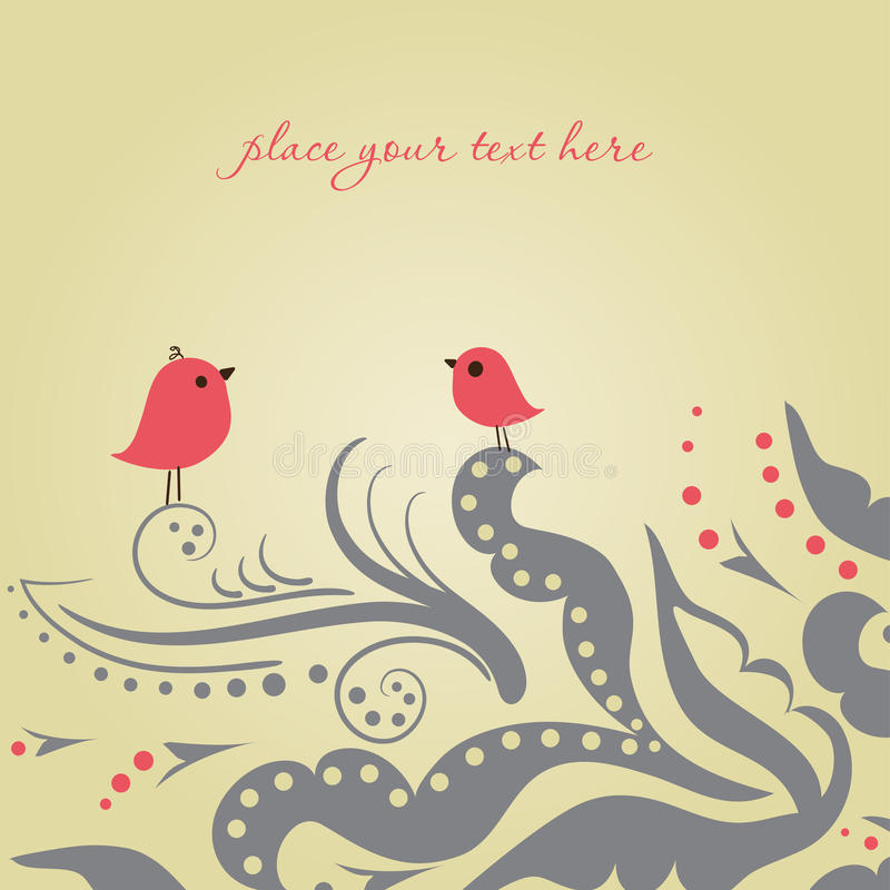 Due uccelli alla data di amore illustrazione vettoriale