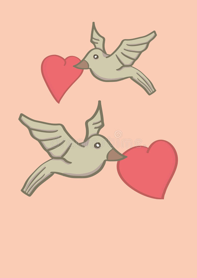 Due uccelli che tengono forma del cuore in becchi e che volano in aria royalty illustrazione gratis