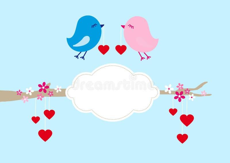 Due uccelli con l'albero dei cuori ed il blu della nuvola illustrazione vettoriale