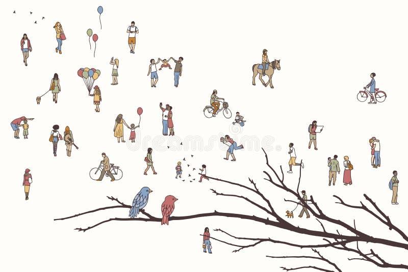 Due uccelli e lotti della gente minuscola illustrazione vettoriale