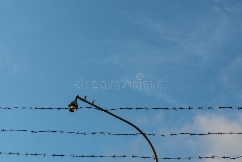 Due uccelli si appollaiano su un cctv che ? confinato da filo spinato contro un fondo di cielo blu luminoso fotografie stock libere da diritti