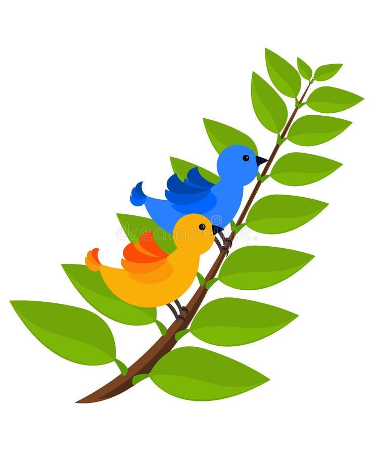 Due uccelli variopinti tropicali illustrazione di stock