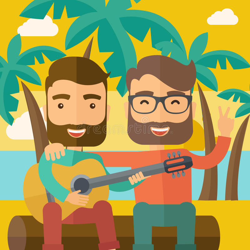 Due uomini che giocano una chitarra alla spiaggia royalty illustrazione gratis
