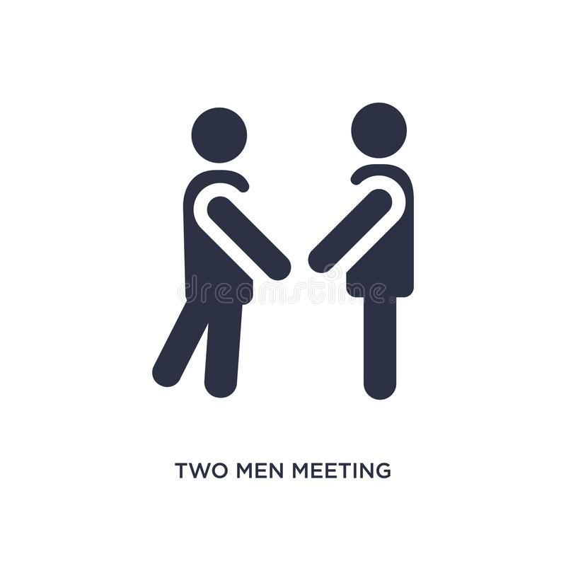 due uomini che incontrano icona su fondo bianco Illustrazione semplice dell'elemento dal concetto di comportamento illustrazione vettoriale