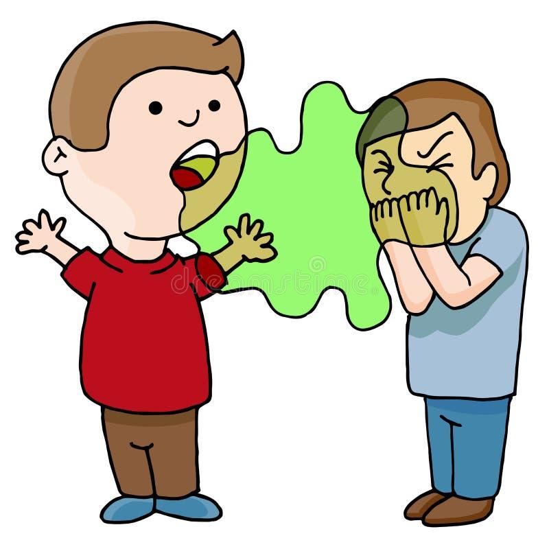 Due uomini che parlano cattivo respiro nauseabondo illustrazione di stock