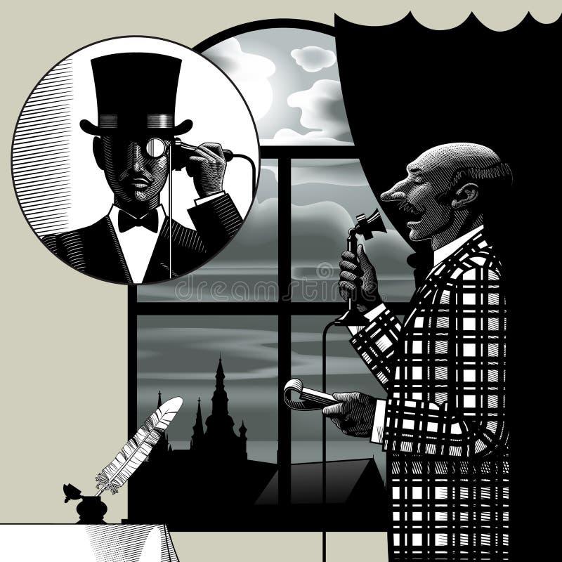 Due uomini che parlano sul telefono royalty illustrazione gratis