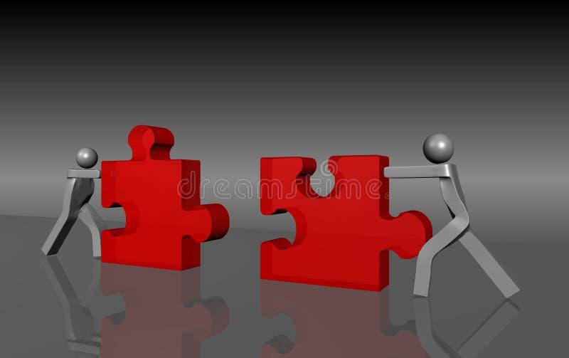 Due uomini che spingono insieme un puzzle illustrazione vettoriale