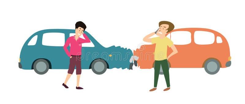 Due uomini con un incidente di due automobili Illustrazione del fumetto illustrazione di stock