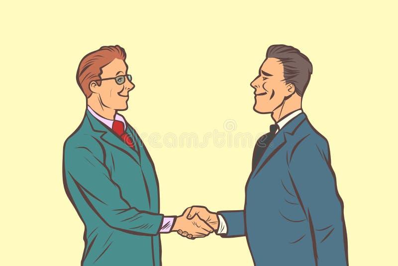 Due uomini d'affari che agitano le mani Stretta di mano illustrazione vettoriale
