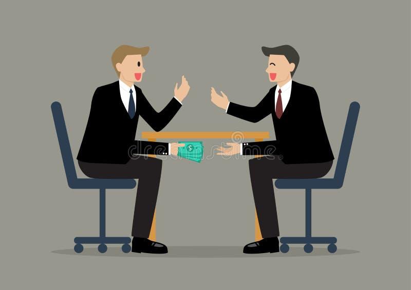 Due uomini d'affari che passano soldi sotto la Tabella illustrazione di stock