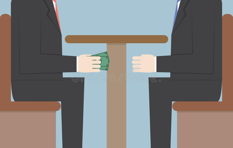 Due uomini d'affari che passano soldi sotto la Tabella, corruzione, Corrupti royalty illustrazione gratis
