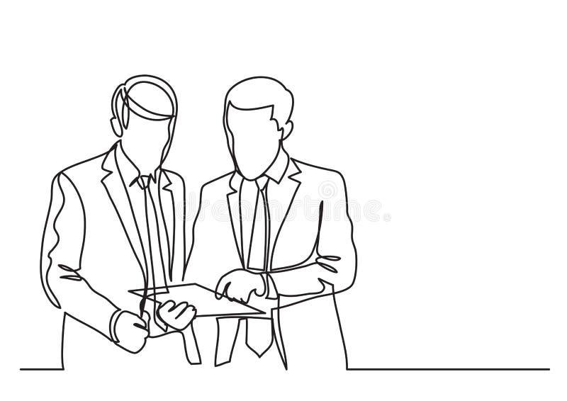 Due uomini d'affari stanti che discutono problema del lavoro - disegno a tratteggio continuo illustrazione vettoriale