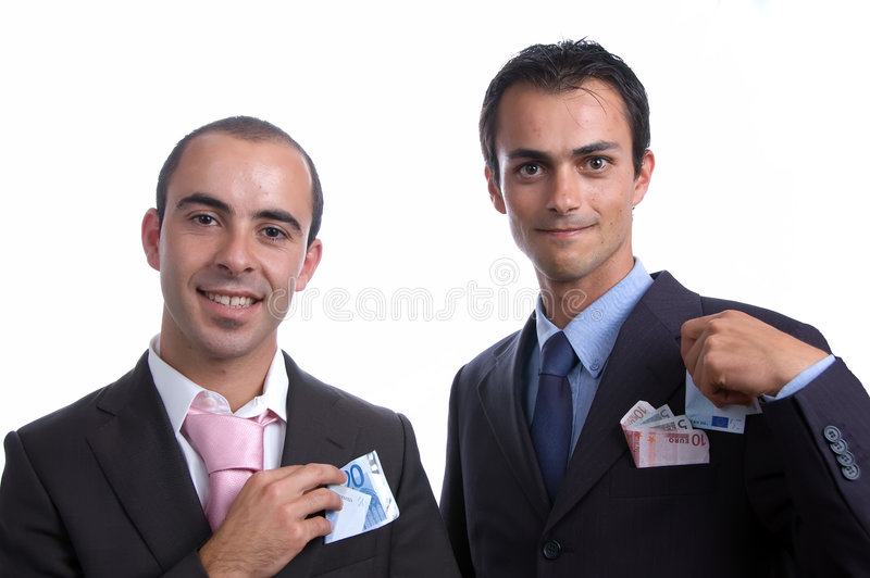 Due uomini di affari con contanti fotografia stock