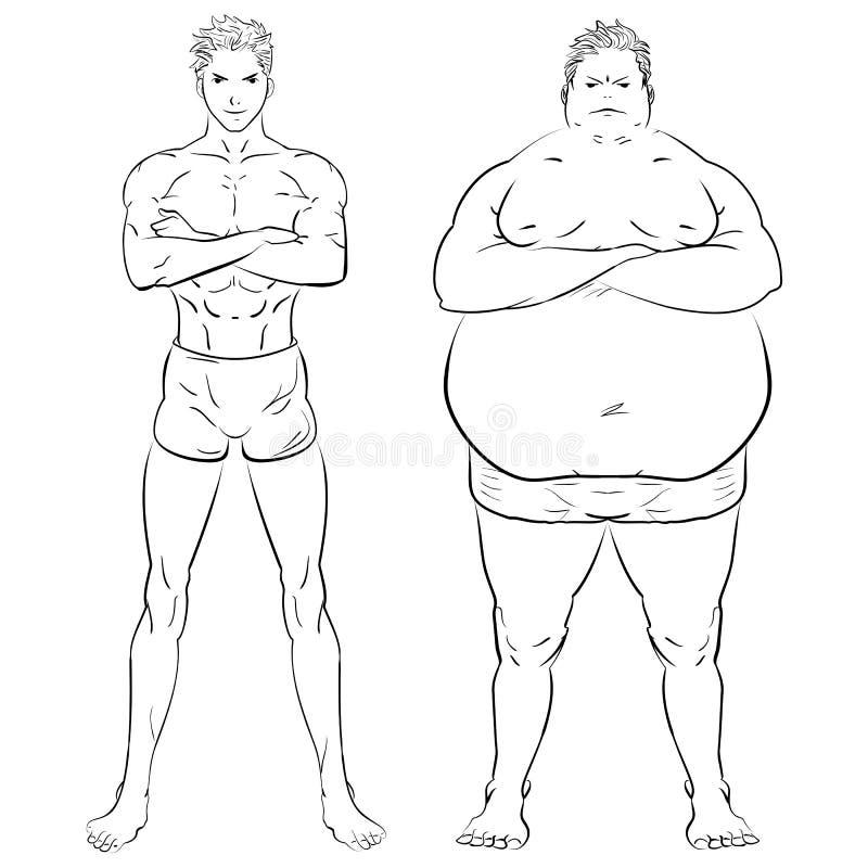 Due uomini differenti, grasso, scarno e muscolare Illustrazione disegnata a mano di vettore di scarabocchio royalty illustrazione gratis