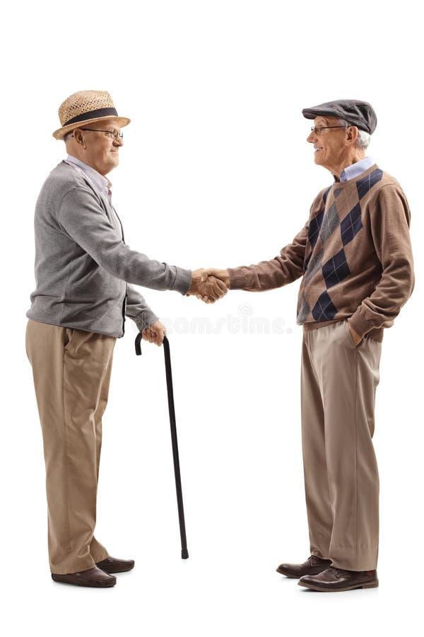 Due uomini senior che stringono le mani fotografie stock libere da diritti