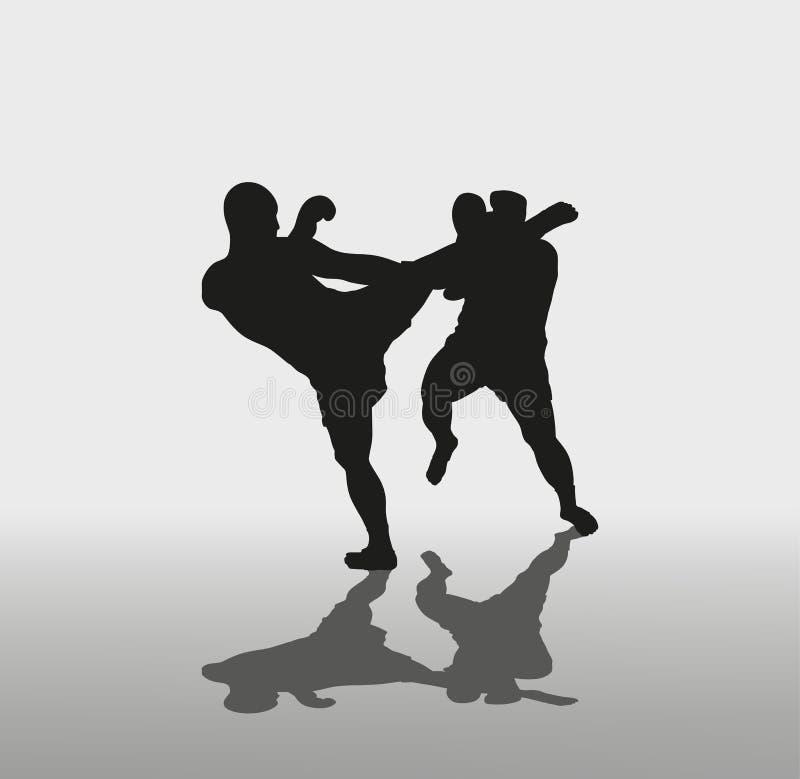 Due uomini sono impegnati nei singoli combattimenti illustrazione vettoriale