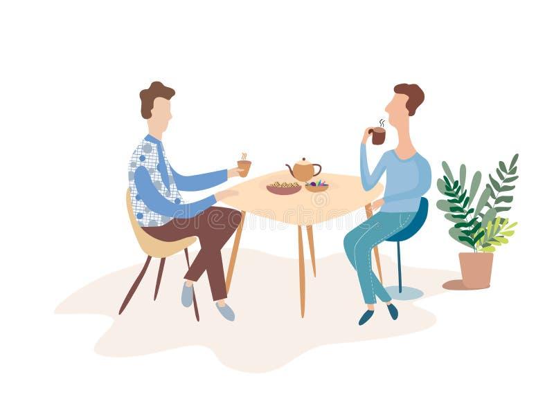 Due uomini stanno parlando ad una tavola in un caffè Discuta sopra una tazza di tè Illustrazione moderna di vettore illustrazione di stock