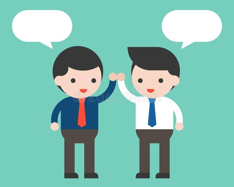 Due uomo d'affari alti cinque e discorso in bianco della bolla, partner o co illustrazione di stock