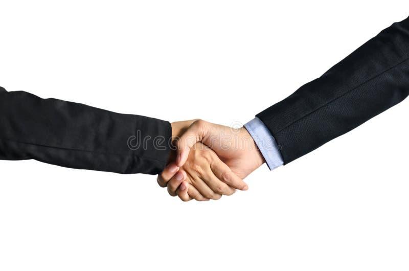 Due uomo d'affari e donne di affari che stringono le mani isolate su fondo bianco immagine stock