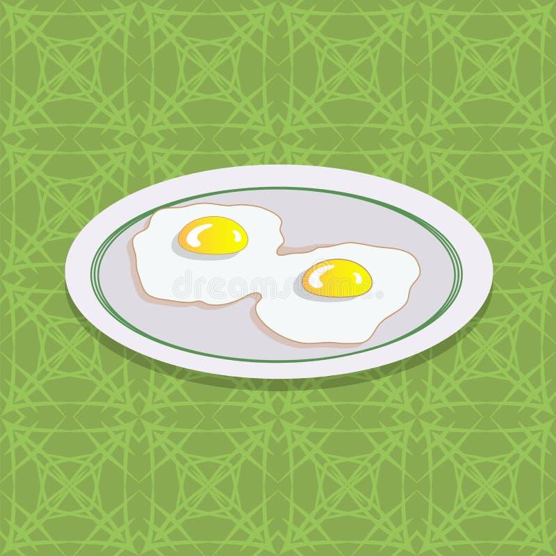 Due uova fritte sul piatto bianco illustrazione di stock