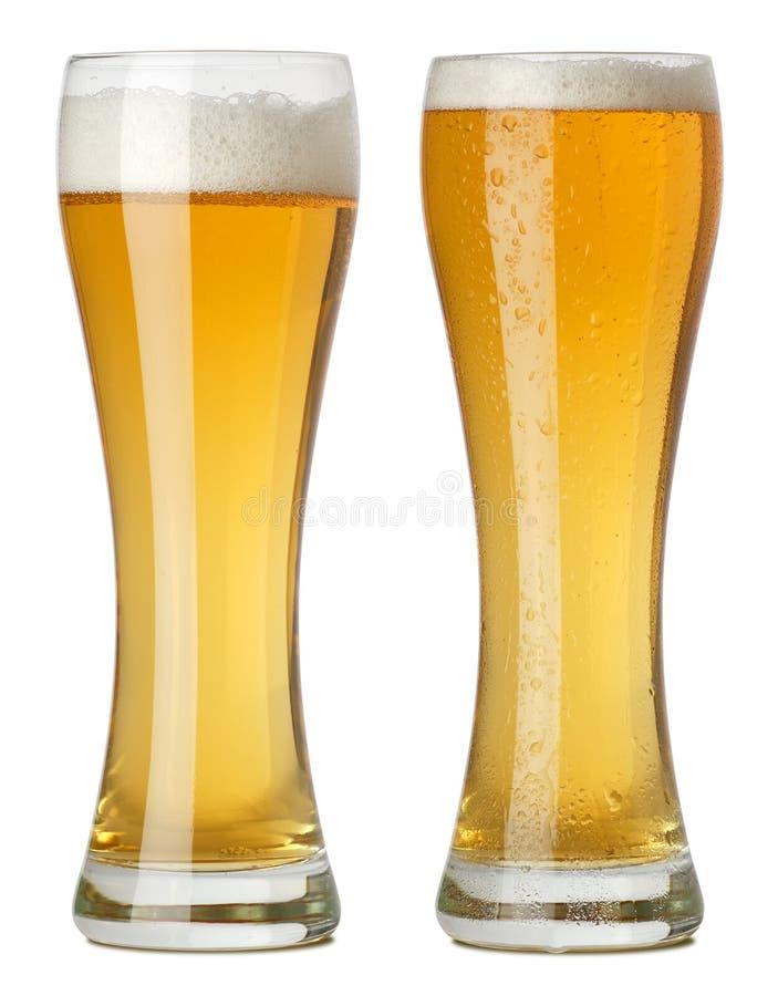 Due vetri alti di birra immagini stock libere da diritti