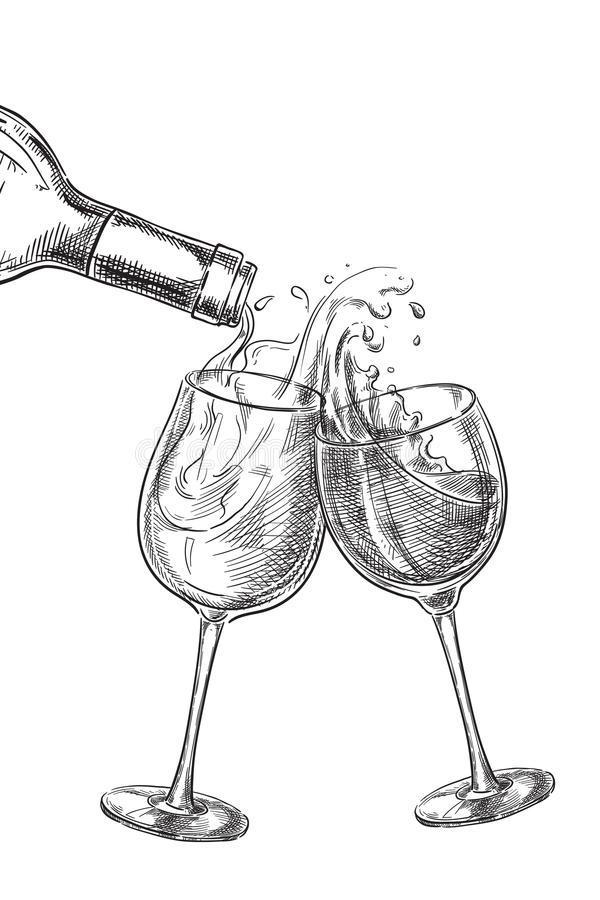 Due vetri con le bevande Vino che versa dalla bottiglia nel vetro, illustrazione di vettore di schizzo royalty illustrazione gratis