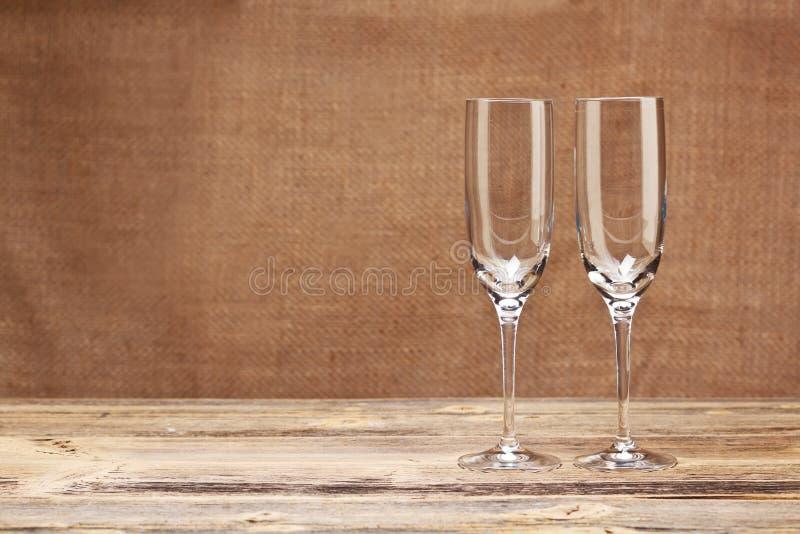 Due vetri del champagne fotografie stock