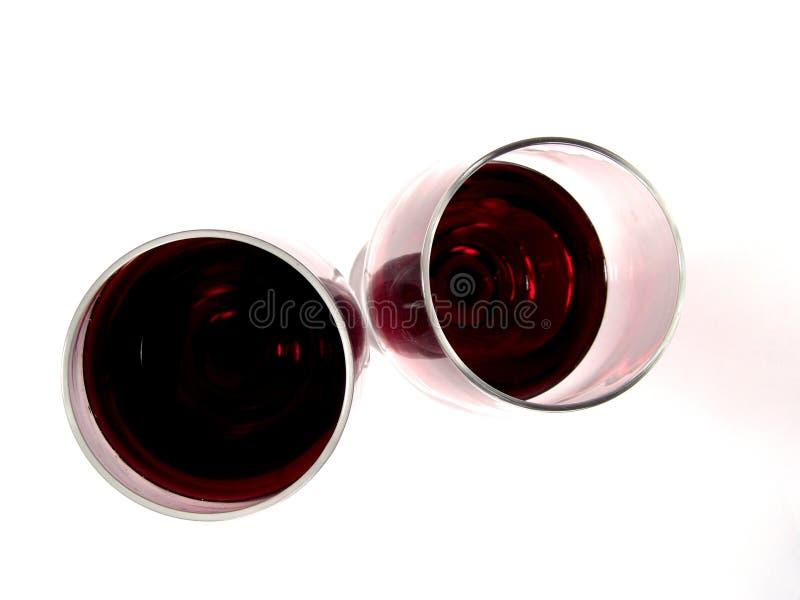 Due vetri del vino rosso immagine stock