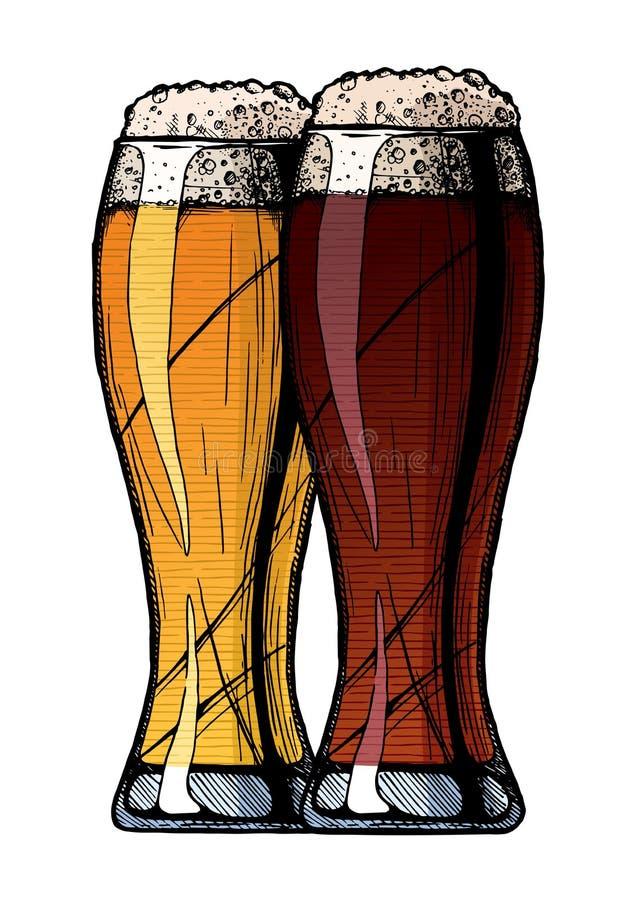 Due vetri di birra royalty illustrazione gratis