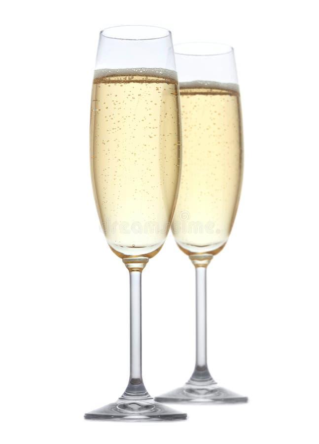 Due vetri di champagne fotografia stock libera da diritti
