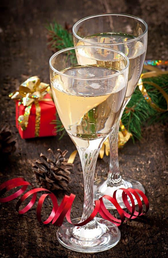 Due vetri di champagne fotografie stock libere da diritti