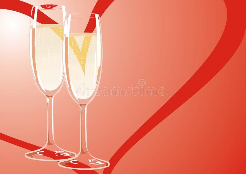 Due vetri di champagne ad una riunione amichevole di fotografie stock libere da diritti