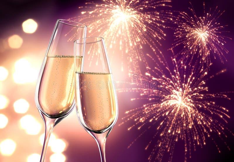 Due vetri di champagne con le luci confuse royalty illustrazione gratis